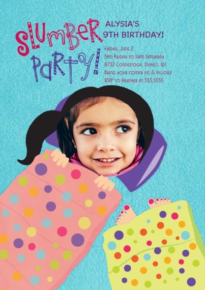 Kids Birthday Party Invites 5x7 Cards, Premium Cardstock 120lb, Card & Stationery -Slumber Party Birthday