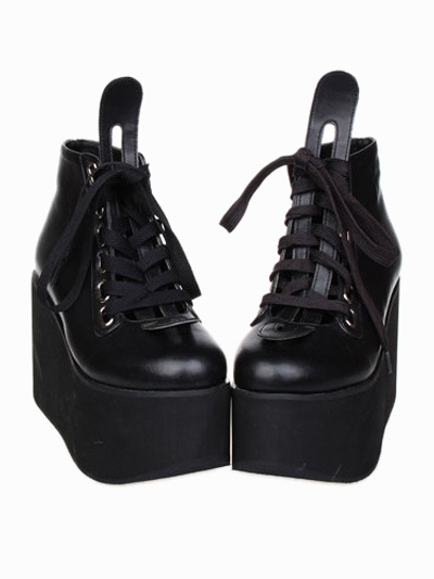 Milanoo Beautiful Street Wear Black PU Leather Platform Lolita Shoes