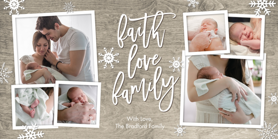 Christmas Photo Cards 4x8 Flat Card Set, 85lb, Card & Stationery -Christmas Faith Love Snowflakes by Tumbalina