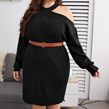 Rippenstrick Pullover Kleid mit Ausschnitt auf Schulter ohne Guertel