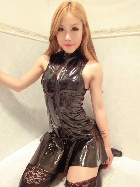 Milanoo Black Tunic Dress Sexy PU Sleeveless Shiny Metallic Slim Fit Dress