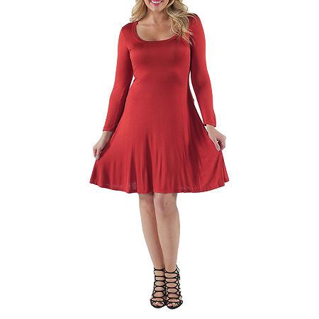 24/7 Comfort Apparel-Plus Casual Fit & Flare Dress, 1x , Orange