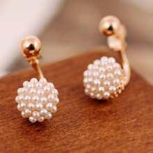 Faux Pearl Detail Stud Earrings 1pair