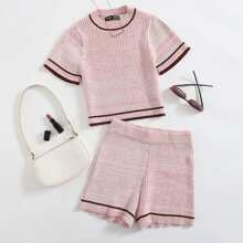 Strick Top mit Kontrast Bindung & Shorts Set