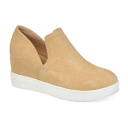Journee Collections Womens Cardi Sneaker Wedge, 6 Medium, Brown