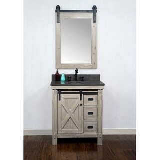 31 Rustic Solid Fir Barn Door Style Single Sink Vanity with Marble or Granite Tops-No Faucet (Oval - WK8530+WK TOP - Granite)