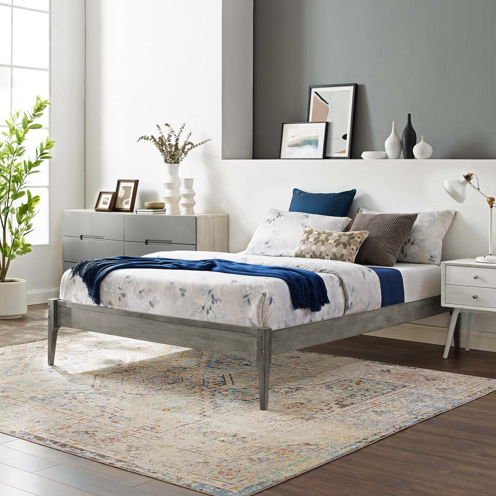 June Twin Wood Platform Bed Frame in Gray