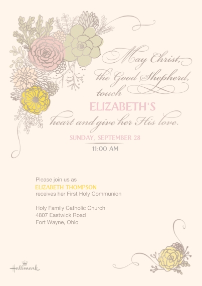 Communion Flat Matte Photo Paper Cards with Envelopes, 5x7, Card & Stationery -Elegant Floral Design