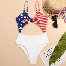 American Flag Cut-out Front One Piece Swimsuit