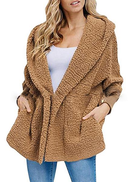 YOINS Button Shawl Collar Hooded Teddy Coat