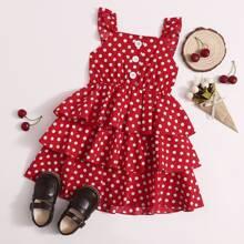Toddler Girls Polka Dot Print Tiered Hem Dress