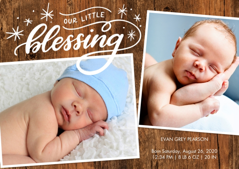 Baby Announcements 5x7 Cards, Premium Cardstock 120lb with Elegant Corners, Card & Stationery -Baby Stars Blessing by Tumbalina