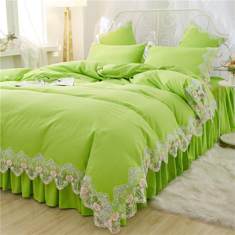 Princess Applique Floral Duvet Cover Set Four-Piece Set Polyester Bedding Sets Bedskirt