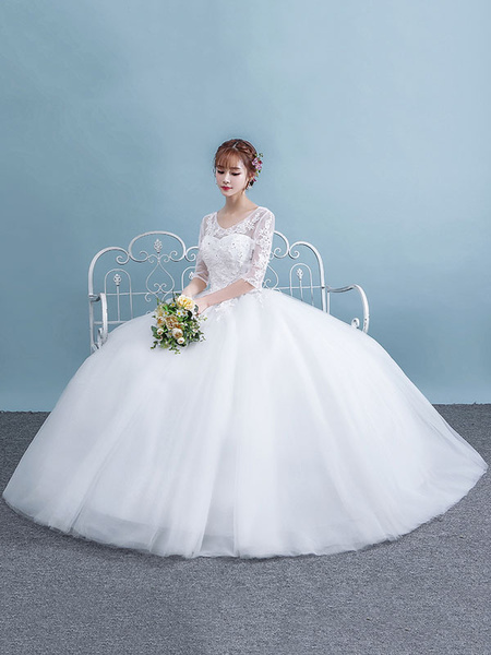 Milanoo White Wedding Dresses Half Sleeve Lace Keyhole Tulle Princess Ball Gown Bridal Dress