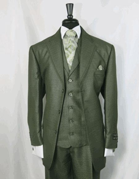 Men's Double Vents Single Breasted Notch Lapel Olive Green Suit