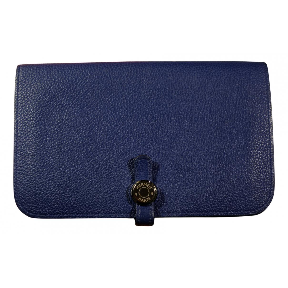 Hermes - Portefeuille Dogon pour femme en cuir - bleu