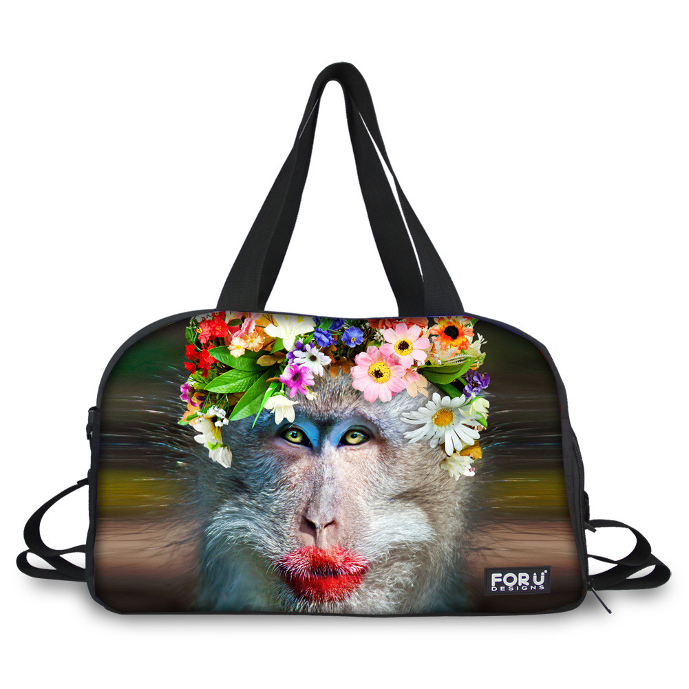 Monkey with Flower Print Nylon Large Capacity Outdoor 3D Travel Bags