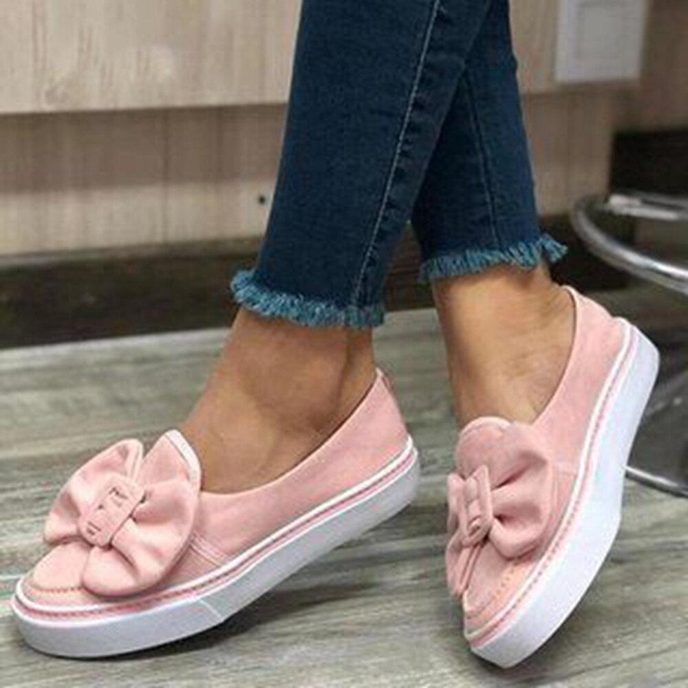 Plus Size Women Retro Round Toe Butterfly Knot Slip On Wide Feet Platform Loafers