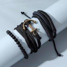 3 Stuecke Maenner Armband mit Anker Detail
