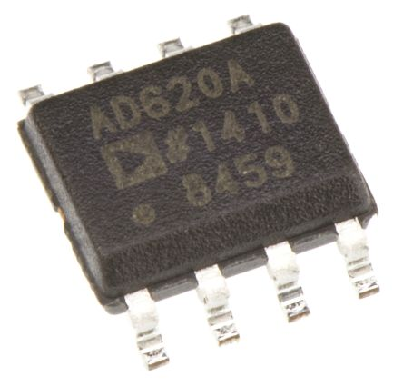 Analog Devices AD620ARZ , Instrumentation Amplifier, 0.125mV Offset 120kHz, 8-Pin SOIC