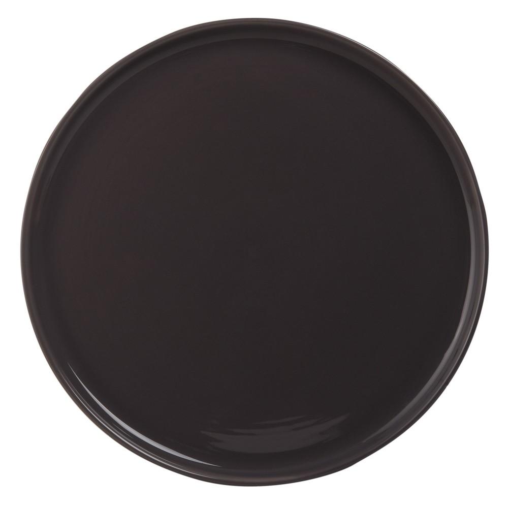 Flacher Teller aus grauem Steingut