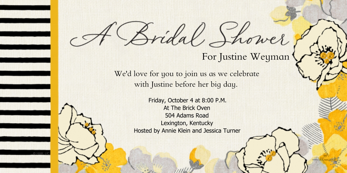 Wedding Shower Invitations Flat Matte Photo Paper Cards with Envelopes, 4x8, Card & Stationery -Black & Gold Floral
