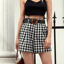 Shorts mit Karo Muster und Selbstband