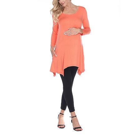 White Mark-Maternity Kayla Womens Scoop Neck 3/4 Sleeve Tunic Top, Medium , Orange