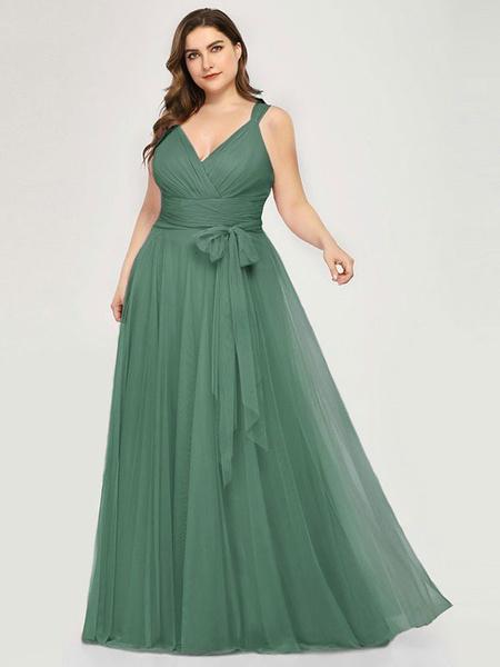 Milanoo Bridesmaid Dress A Line V Neck Floor Length Zipper Matte Formal Gowns Wedding Party Dresses