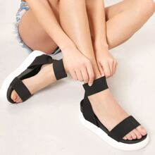 Open Toe Elastic Ankle Strap Chunky Sole Sandals