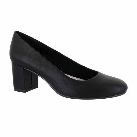 Easy Street Womens Proper Pumps Block Heel, 6 Wide, Black