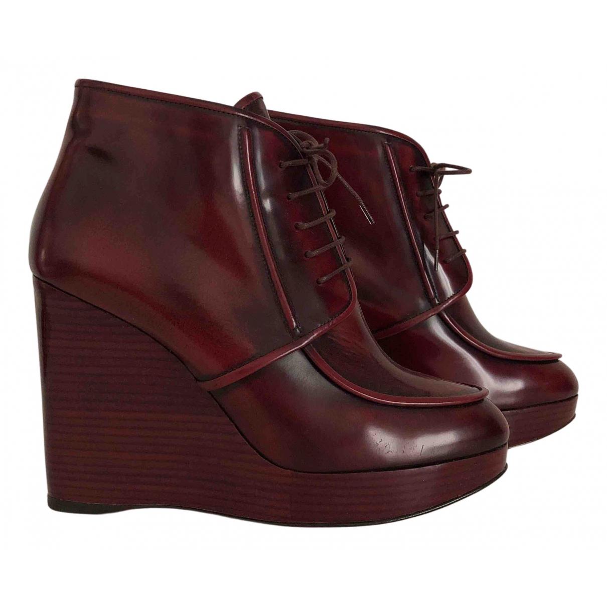 Salvatore Ferragamo - Boots   pour femme en cuir - bordeaux