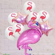 9 Stuecke Dekorballon Set mit Flamingo Muster