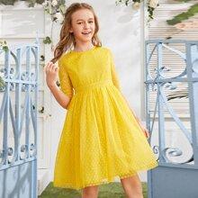 Maedchen Kleid mit Netzstoff