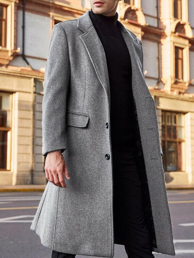 Ericdress Plain Notched Lapel Mid-Length Single-Breasted Slim Coat