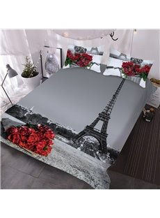 Romantic Red Rose and Eiffel Tower Grey Printed 3-Piece 3D Skin-friendly Endurable Comforter Sets