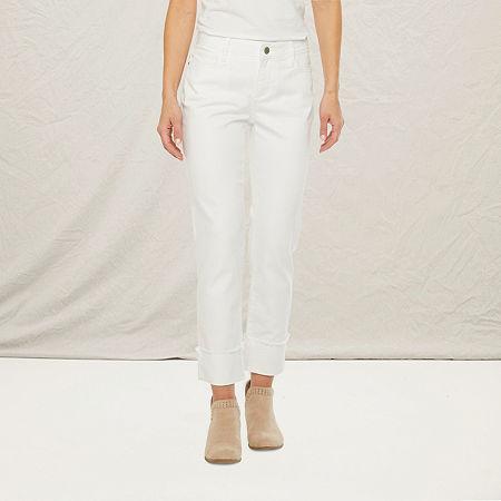 a.n.a Womens Wide Cuff Straight Jean, 14 , White