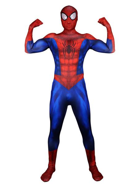 Milanoo Marvel Comics Spiderman Peter Parker Marvel Comics Halloween Cosplay Costume Lycra Spandex Catsuit Jumpsuit