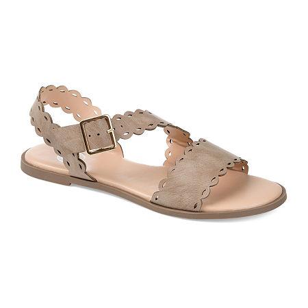 Journee Collection Womens Aubrinn Flat Sandals, 7 Medium, Beige