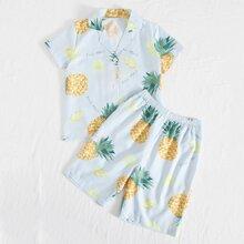 Boys Pineapple Print PJ Set