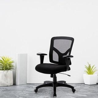 Qwork Mid Back Ergonomic Mesh Task Office Chair (Black)
