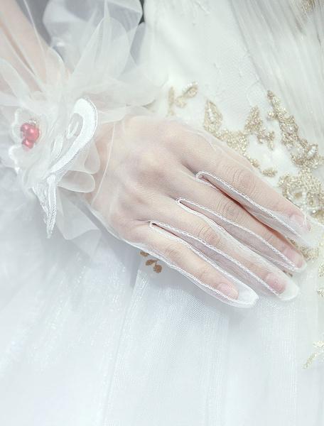 Milanoo Bridal Gloves Tulle Wrist Length Ruffles Ivory Wedding Accessories