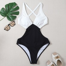 Two Tone Cut-out One Piece Swimsuit