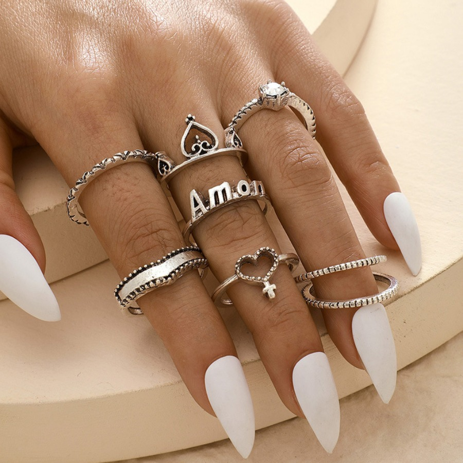 LW lovely Trendy 8-piece Silver Ring