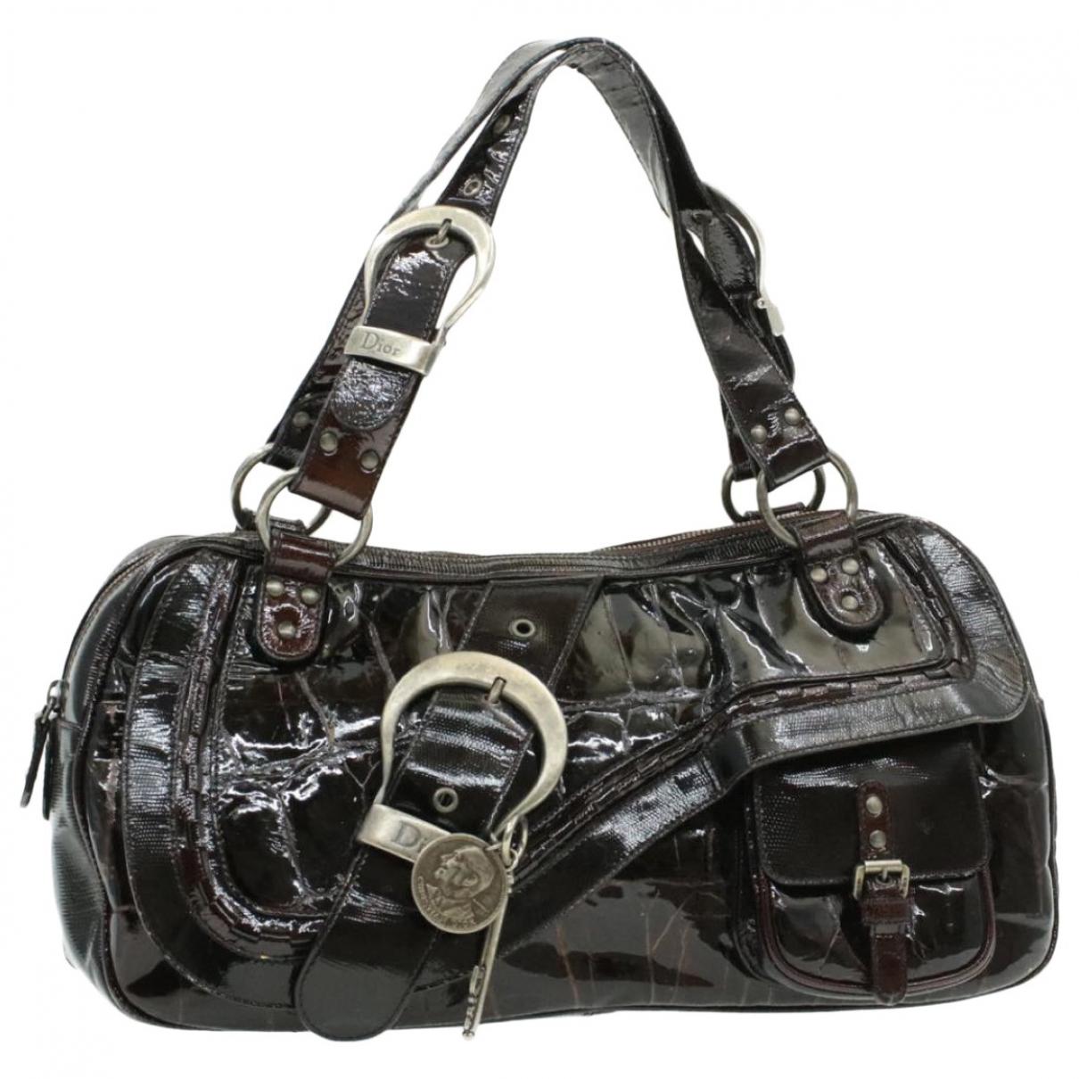 Christian Dior \N Handtasche in  Schwarz Lackleder