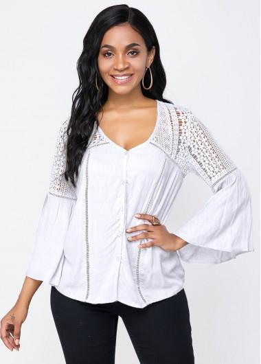 White Flare Sleeve V Neck T Shirt - S
