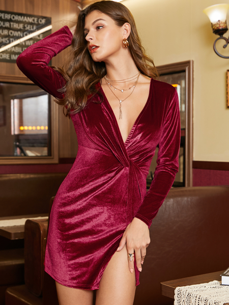 YOINS Burgundy Slit Design Deep V Neck Long Sleeves Dress