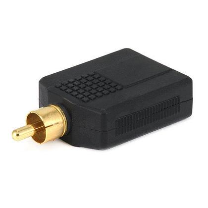 Adaptateur répartiteur RCA fiche vers 2 x 6.35mm (1/4 pouce) stéréo jack, plaqué or - Monoprice®