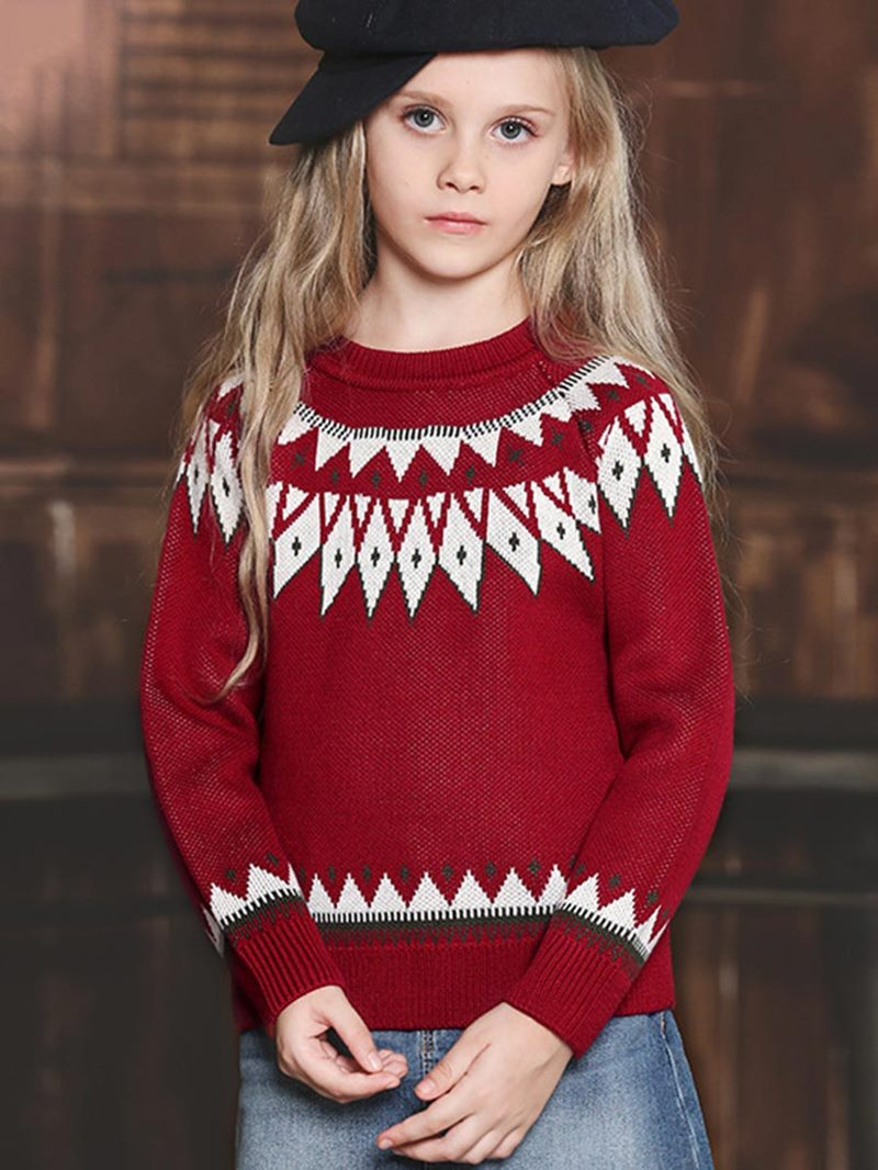 Ericdress Round-Neck Geometric Designed Girl's Sweater