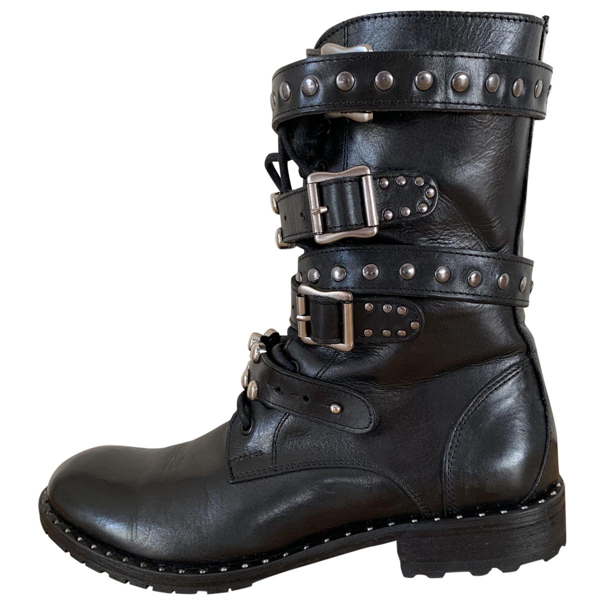 Pinko - Boots   pour femme en cuir - noir